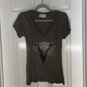 Wildfire graphic tee shirt, vneck